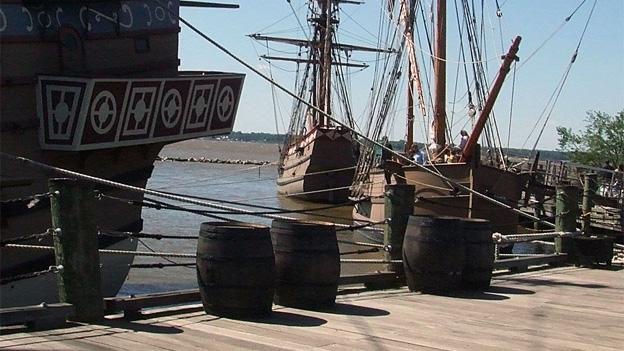 Jamestown, Va., was built on the banks of the James river.