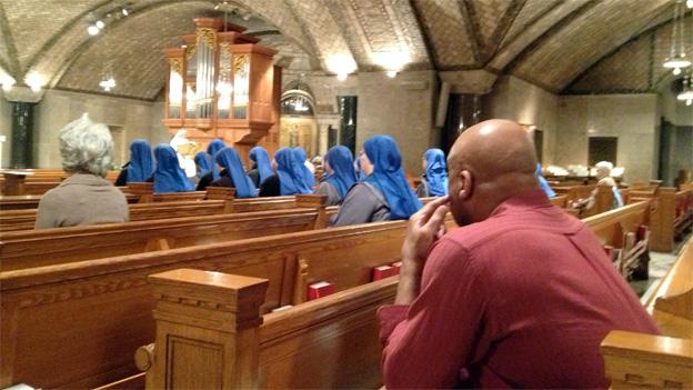 The faithful were present in the early morning hours at the Basilica of the Shrine of the Immaculate Conception in Northeast D.C.