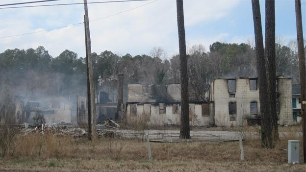 The Whispering Pines Motel was one of many targets razed by the accused serial arsonists.