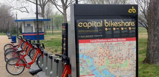 One of the new two new Bikeshare stations at MLK and FDR memorials on the National Mall.