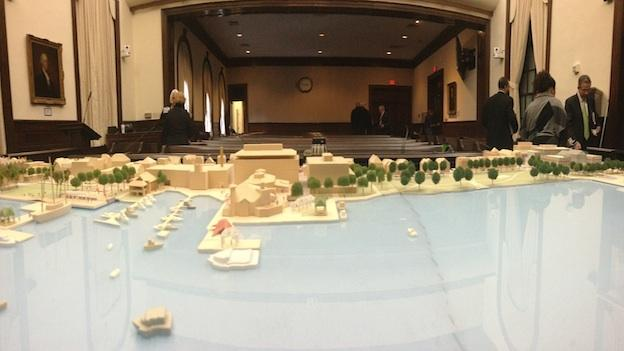 A model of the waterfront plan is displayed at Alexandria City Hall.