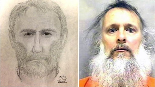 A composite sketch of the Alexandria shooter and a mug shot of Charles Stanard Severance, who is wanted for questioning.