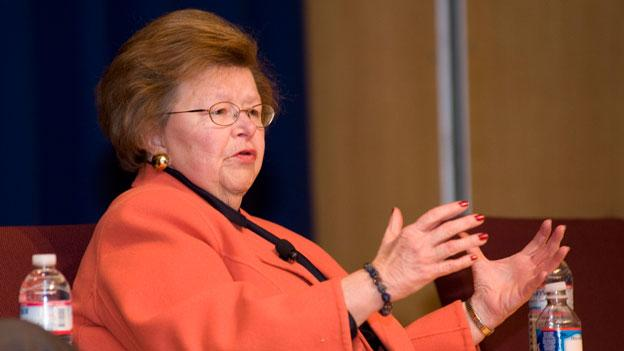 Sen. Barbara Mikulski (D-Md.) answers questions at a town hall meeting in Greenbelt, Md. in November, 2011.