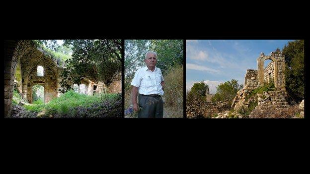 """""""Forgotten Survivor"""" Ibrahim Essa is shown amidst crumbling structures in Palestine."""