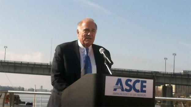 Former Pennsylvania Governor Ed Rendell speaks about the crumbling infrastructure in the United States in front of the Frederick Douglass Memorial Bridge.
