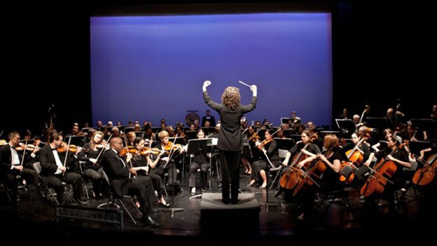The Capital City Symphony with Conductor Victoria Gau in concert at the Atlas Performing Arts Center.