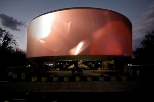 And you said Tilda Swinton's face would never make it to the exterior of the Hirshhorn!