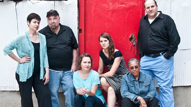 The Welders, a playwrights' collective, presents its debut production, The Carolina Layaway Grail. Pictured from left to right are company members Renee Calarco, Bob Bartlett, Allyson Currin, Jojo Ruf, Caleen Sinnette Jennings and Gwydion Suilebhan.