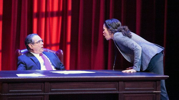 """(L to R) Edward Gero as Supreme Court Justice Antonin Scalia and Kerry Warren as Cat in """"The Originalist"""" at Arena Stage at the Mead Center for American Theater."""