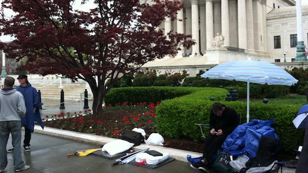 Members of the Tea Party are camping out in front of the Supreme Court ahead of Monday's oral arguments on the health care law.