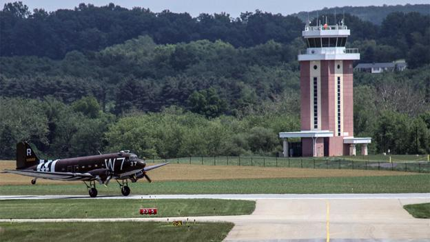 The airport control tower at Frederick Municipal Airport is one of six in the area that would be closed due to budget cuts.