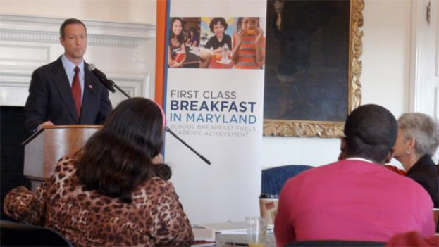 Martin O'Malley spoke to a group of Maryland principals Wednesday to push programs that feed breakfast to school children in need.