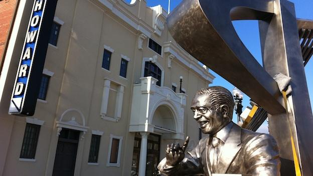 A new statue of Duke Ellington gleams in front of Howard Theater, which is scheduled to reopen April 9.