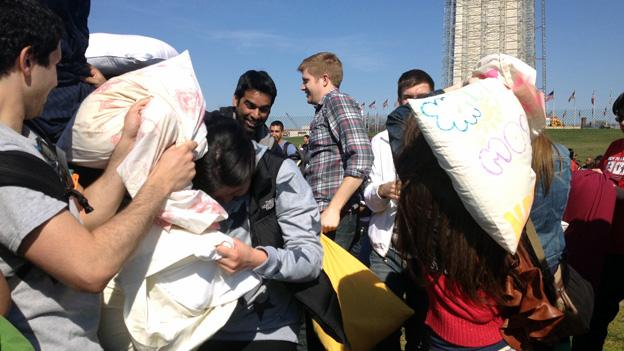 Hundreds took part in a stuffed melee near the Washington Monument on Saturday for National Pillow Fight Day Saturday.