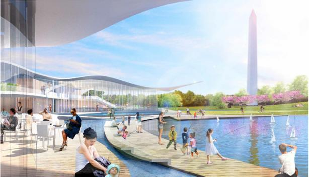 "The ""Pavilion Promenade,"" a mock-up of an indoor-outdoor dining and waterfront recreation era imagined as part of the National Mall Design Competition."