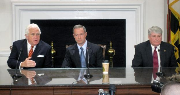 Senate President Mike Miller, Governor Martin O'Malley, and House Speaker Mike Busch at a very tense bill signing ceremony Tuesday.