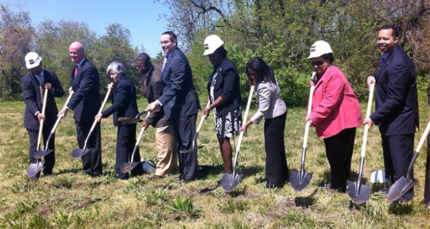 Mayor Gray and members of the D.C. Council were on hand for the groundbreaking of MetroTowns at Parkside.