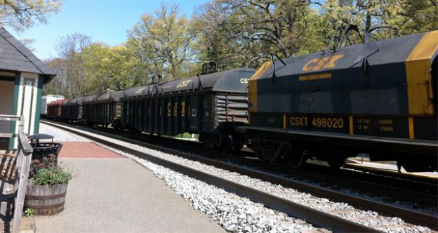 A CSX freight train of the kind that struck a pedestrian in Gaithersburg, Md. on Friday.