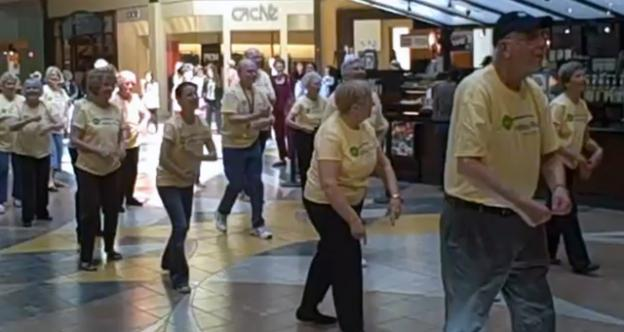 Seniors from the Ashby Ponds retirement community made a splash at the Dulles Town Mall.