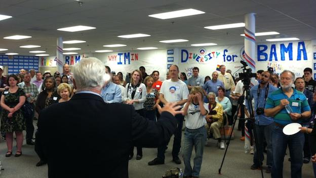 Rep. Jim Moran (D-Va.) addressing Obama supporters in a new campaign office in Falls Church.
