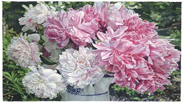 """""""Peonies from the Garden"""" is one of the watercolor paintings featured in Mary Margaret Pipkin's solo exhibit at the Athenaeum in Old Town Alexandria."""