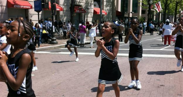 Cheerleaders march in the Emancipation Day parade in D.C. April 16.