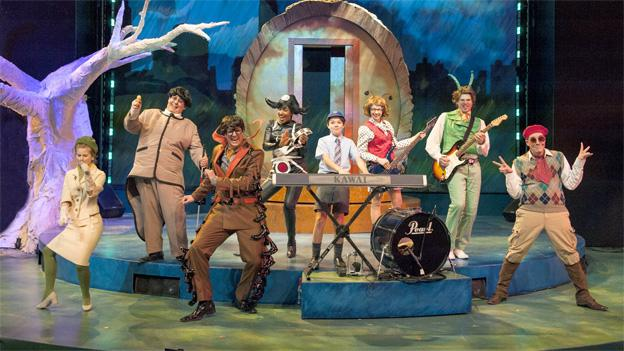 Young James (Sean Silvia, center) is joined by his friends The Mayor's Wife (Megan Graves), Earthworm (Phillip Reid), Centipede (Eric Messner), Miss Spider (Lauren Du Pree), Ladybug (Leigh Jameson), Grasshopper (Matthew Schleigh), and Director (Joe Brack) in Imagination Stage's production of James and the Giant Peach.