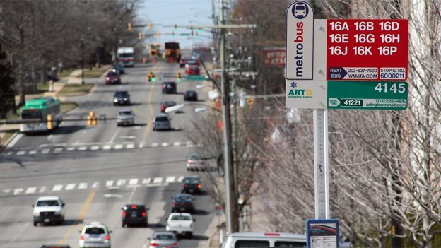 Nearly 60,000 daily transit trips are projected along Columbia Pike (shown) and Route 1, and most of those—about 37,000—will be on streetcars, says a county report.