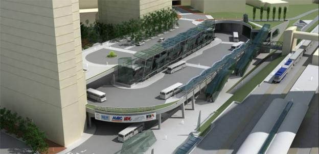 A computer model of what the finished Silver Spring Transit Center will look like.