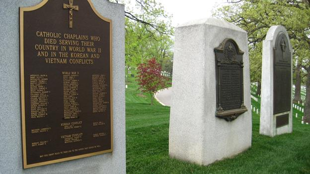 The three memorials on Chaplains' Hill at Arlington Cemetery recognize Catholic chaplains, WWI chaplains, and Protestant chaplains. Later today, a memorial to Jewish chaplains will be dedicated.