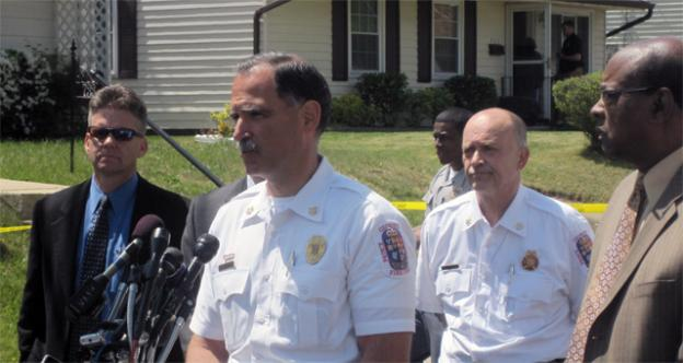 Prince George's County Fire Chief Marc Bashoor speaks to reporters outside the Oxon Hill home where five people were found dead April 24, likely from carbon monoxide poisoning.
