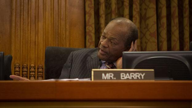 Marion Barry, shown here at the D.C. Council dais in January, has drawn criticism from the ambassador to the Philippines.