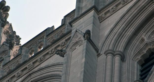 Tours of the National Cathedral's gargoyles, including the infamous Darth Vader, pictured, resumes on Sunday.