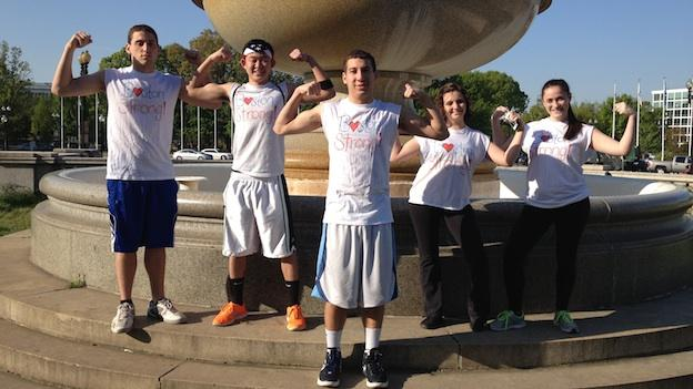 "Five American University students show their support at Saturday morning's DC RUNS FOR BOSTON. The crew, two of whom are Massachusetts natives, sported homemade ""Boston Strong"" t-shirts."