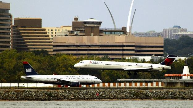 Planes prepare for takeoff at Reagan National Airport in Washington, D.C.