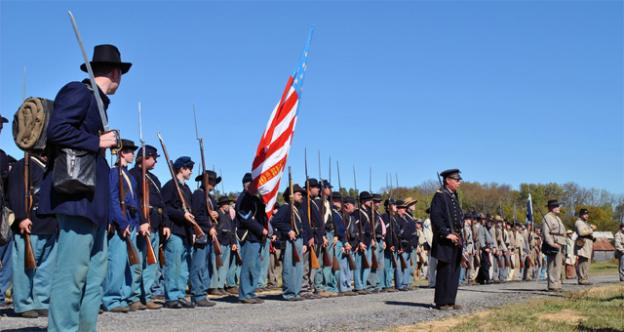 Civil War re-enactors will converge on Virginia May 5 to commemorate the Battle of Williamsburg. Pictured, re-enactors take to the field in Franklin, Tenn.