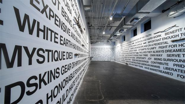In her text-based installation, Anna Tsouhlarakis uses words and phrases pulled from responses to a survey circulated in the local Native community.