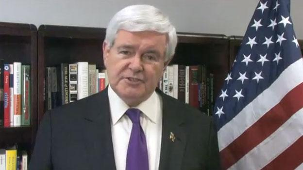 A screen shot from the video Newt Gingrich released today.