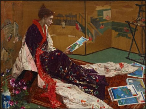 This oil on wood panel painting by James McNeill Whistler, titled Caprice in Purple and Gold: The Golden Screen(1864), demonstrates how Japanese art influenced the artist's style, a prominent theme in the An American in London exhibit.