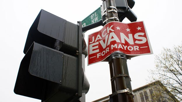 A sign for Jack Evans along Connecticut Avenue NW was removed shortly after this photo was taken.