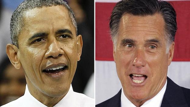 This photo combo shows President Barack Obama in Chapel Hill, N.C. on April 24, 2012, and Republican presidential candidate, former Massachusetts Gov. Mitt Romney on April 18, 2012 in Charlotte, N.C.