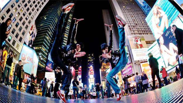 The Lombard Twins show off their moves in Times Square. The pair will be performing in The DREAM Celebration this weekend alongside other esteemed artists.