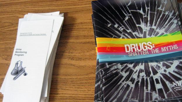 Drug awareness pamphlets that were handed out at a meeting at Damascus High School in May. Montgomery County officials are meeting today to discuss the gorwing drug problem in the county's schools.