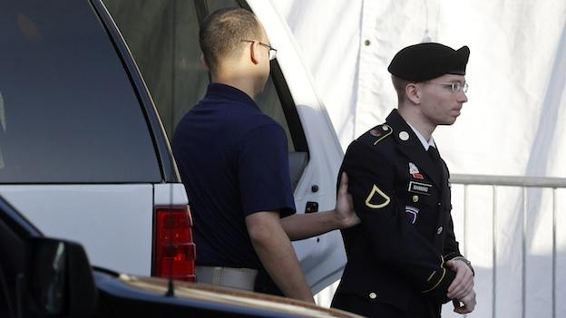 Army Pfc. Bradley Manning, right, is escorted from a security vehicle to a courthouse in Fort Meade, Md., Wednesday, April 10, 2013, before a pretrial military hearing.