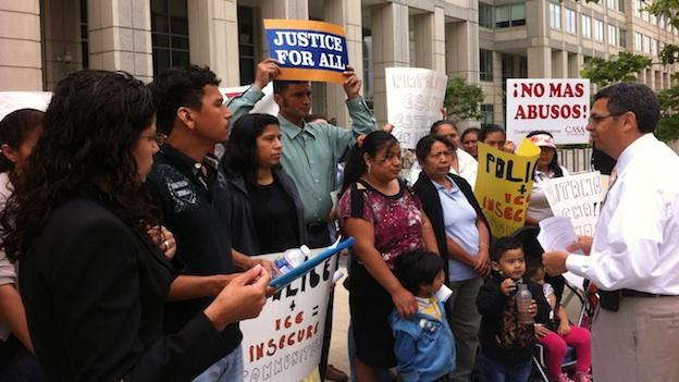 Immigration activists protested in front of the Department of Homeland Security Monday.