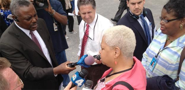 Patricia Jeffries, whose 16 year old granddaughter Brishell Jones was killed back in 2010, talks to reporters after the verdicts were announced.