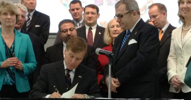 Gov. Bob McDonnell signed three human trafficking bills at a ceremony in Annandale, Va. Tuesday.