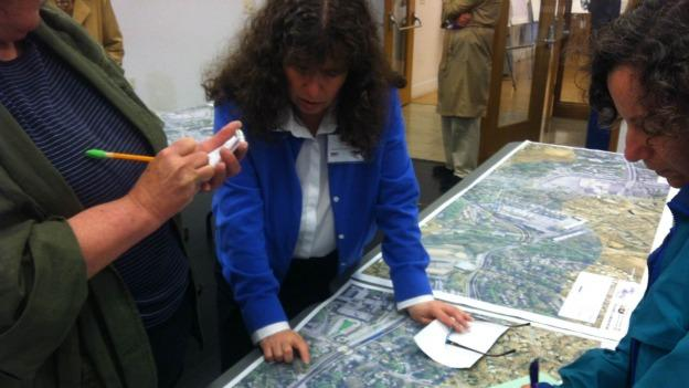 Residents pored over maps of the Purple Line, which would cut across Montgomery and Prince George's counties.