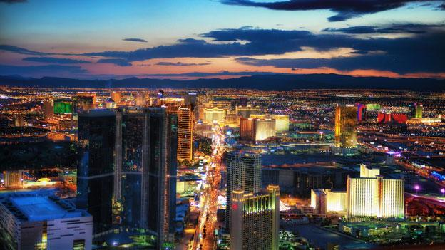 A view of the Las Vegas skyline at dusk; D.C. government officials are headed to Sin City this week for a retail and real estate conference.