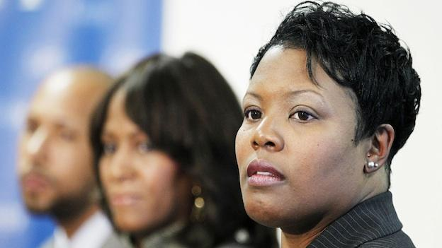 From left; De'Shawn Wright, Washington deputy mayor for education nominee. Hosanna Mahaley, Washington state superintendent of education nominee and Interim D.C. Schools Chancellor Kaya Henderson, attend a news conference in Washington, Wednesday, Dec. 22, 2010.